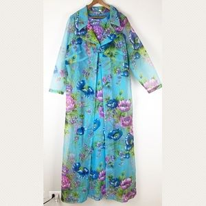 vintage maxi dress set blue floral 0039